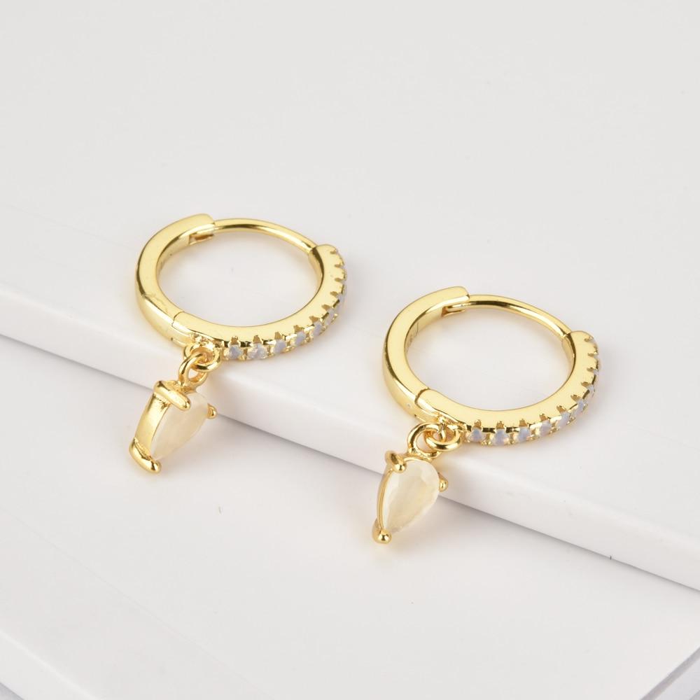 Andywen 100% 925 Sterling Silver Gold White Black Zircon Piercing CZ Ovals Drop Earring 2020 Rock Punk Fashion European Jewelry
