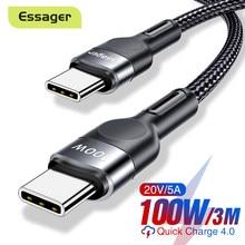 Essager 100w usb tipo c para usb c cabo USB-C pd carregador de carregamento rápido cabo de fio para macbook samsung xiaomi tipo-c cabo usbc 3m