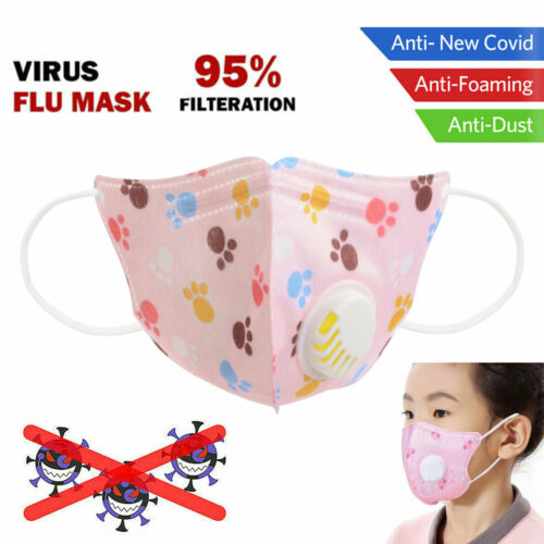 KN95 Kids Face Mask With Valve Anti Dust Filtered Respirator Mouse+Nose Cover Children Cartoon Face Mask Mouth Protect PM2.5 1pc