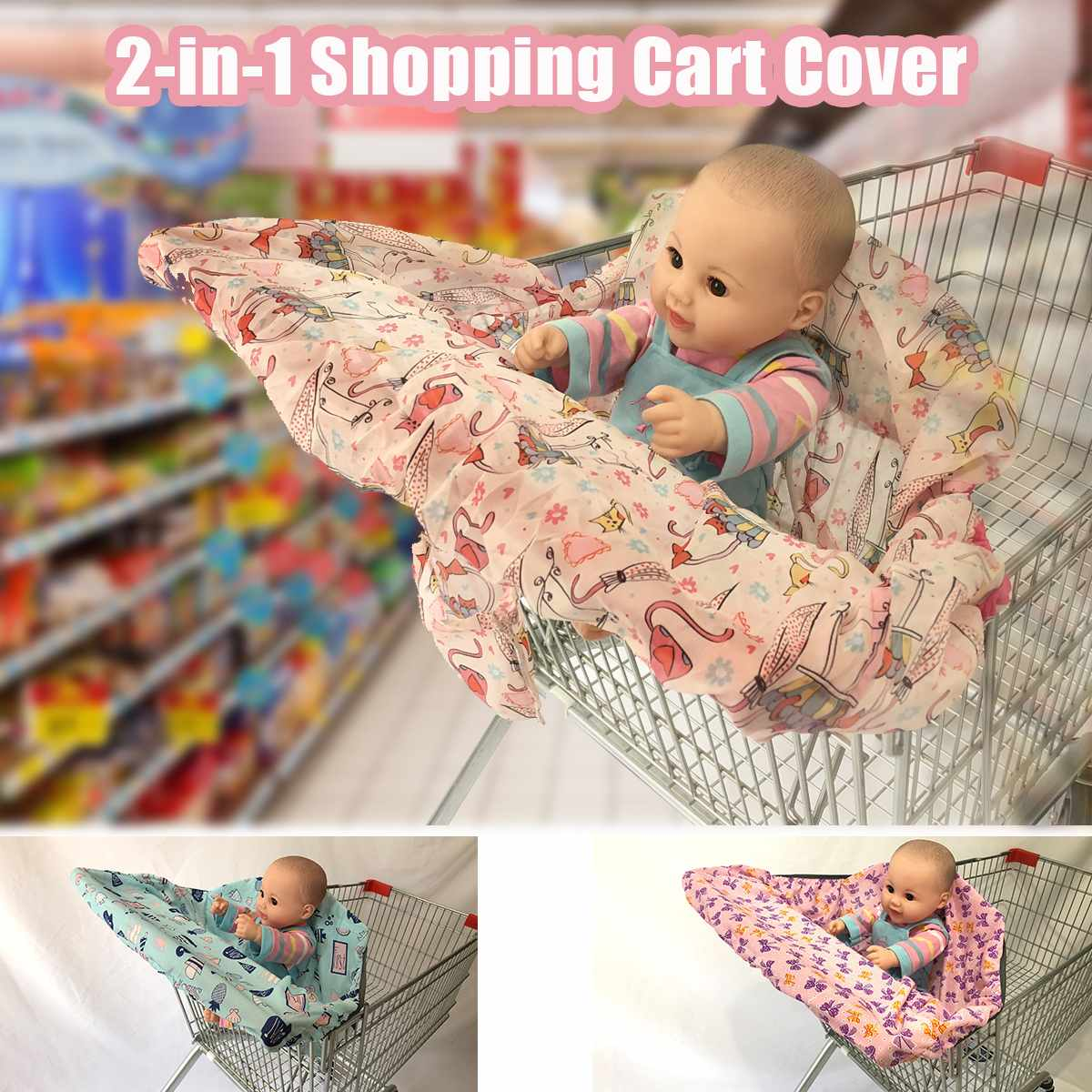 Baby Children Folding Shopping Cart Cover Baby Shopping Push Cart Protection Cover Trolley Seat Protection Safety Seats For Kids