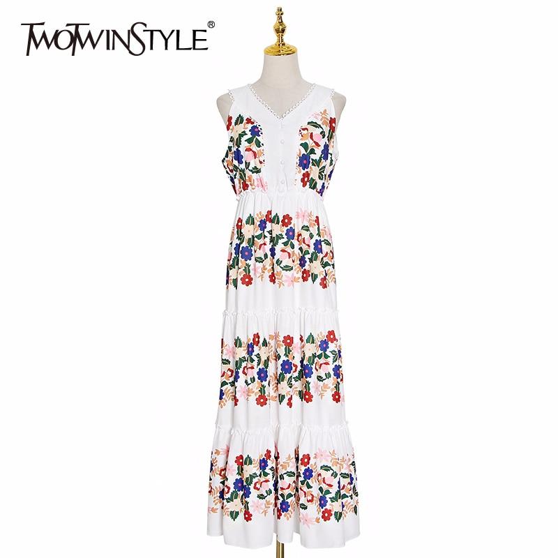Twotwinstyle imprimir hit cor vestido feminino v pescoço tanque sem mangas solto elegante maxi vestidos femininos 2020 roupas de moda verão