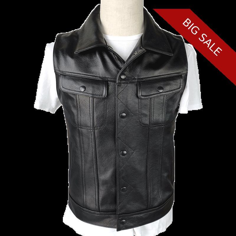 2020 Black Men Fashion Casual Leather Vest Single Breasted Plus Size 4XL Genuine Cowhide Russian Slim Fit Leather Vest