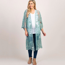 Women's Summer Casual Hollow Out Cotton Beach Dress Lace Kimono Cardigan Cover Up embroidered hollow out batwing kimono
