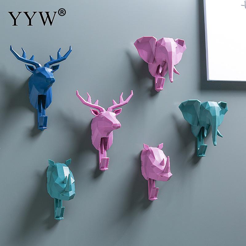 Creative 3D Wall Hangers Decoration Animal Door Hooks Decorative Coat Hooks Plastic Hooks Deer Rhino Elephant Home Decor