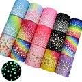 Fluorescence Small Dots Printed Grosgrain Ribbons, 3 inch (75mm) Wide x 2-Yard DIY Handmade Headwear Gift Wrap L-201106-1296