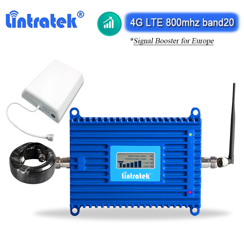 Lintratek 4G LTE 800mhz Signal Repeater Band 20 Internet Cellular Amplifier AGC ALC Booster Europe Home Use