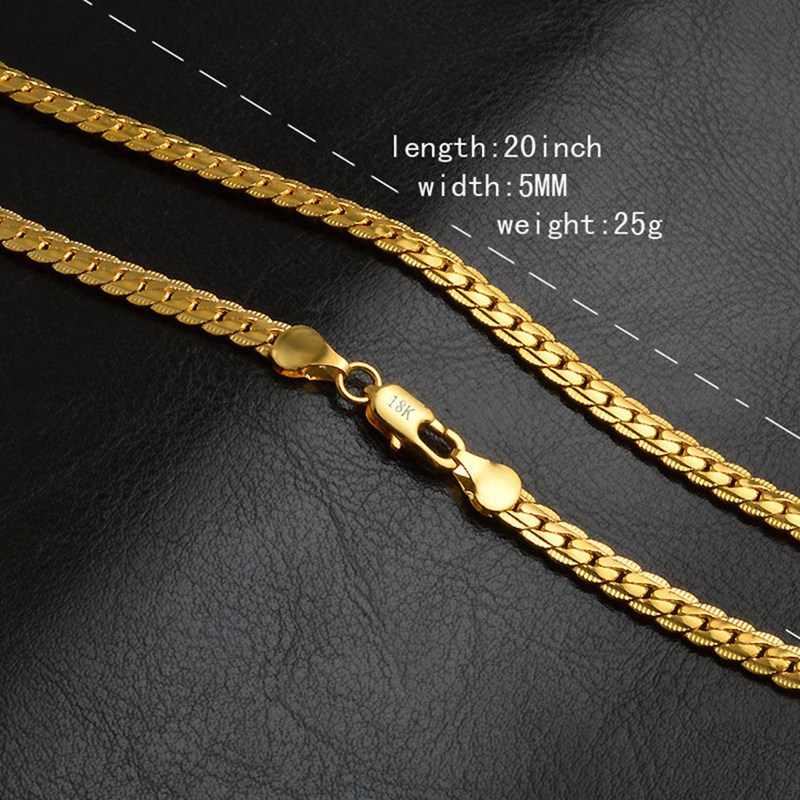 5MM Full Sideways Gold Color Necklace 18k Stamped Fashion Jewelry Women Men Link Chain Necklace 50cm