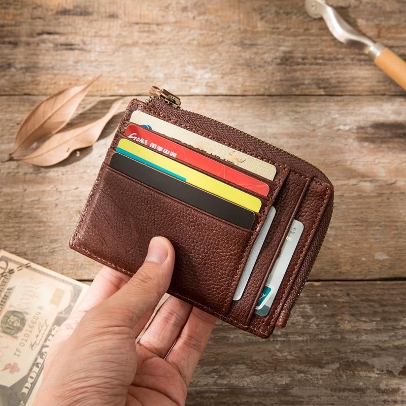 Retro Men Genuine Leather Wallet Japanese-style Cowhide Mini Purse Wallet Zipper Coin Bag