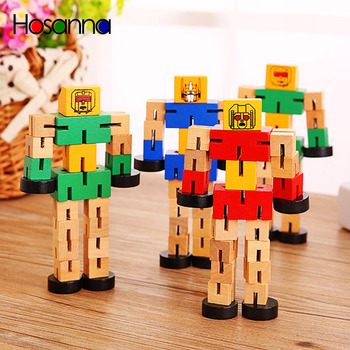 Wooden Robot Transfigure Transformer Figure Puzzle Car Boys Creative Educational Fun Toys For Children Kids Christmas Gift image