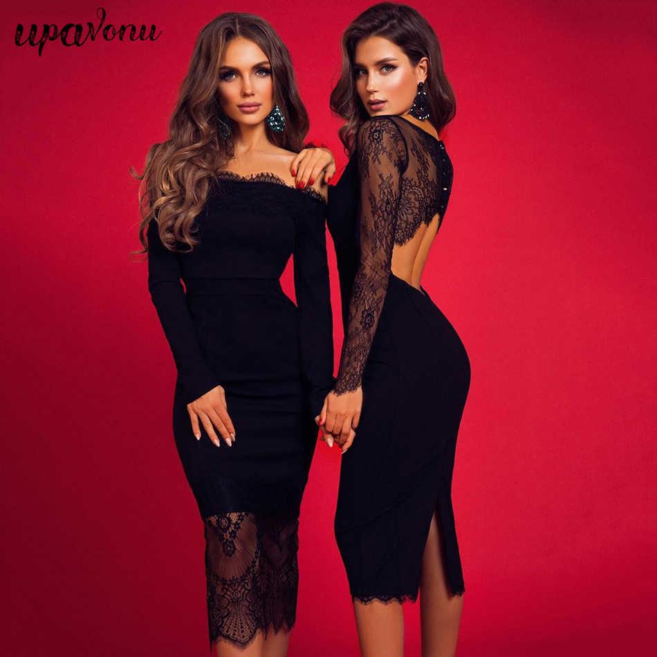 2020 ฤดูใบไม้ผลิใหม่ลูกไม้ยาวแขนเสื้อชุดผู้หญิงเซ็กซี่สีดำคลับ MIDI ชุด Celebrity Club PARTY DRESS vestidos