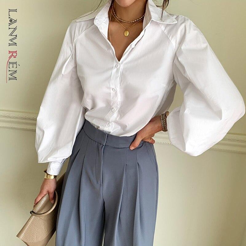 LANMREM Can Ship 2020 Spring Summer Fashion New Shirt For Women Lantern Long Sleeve Cotton Loose Blouse High Quality YH892