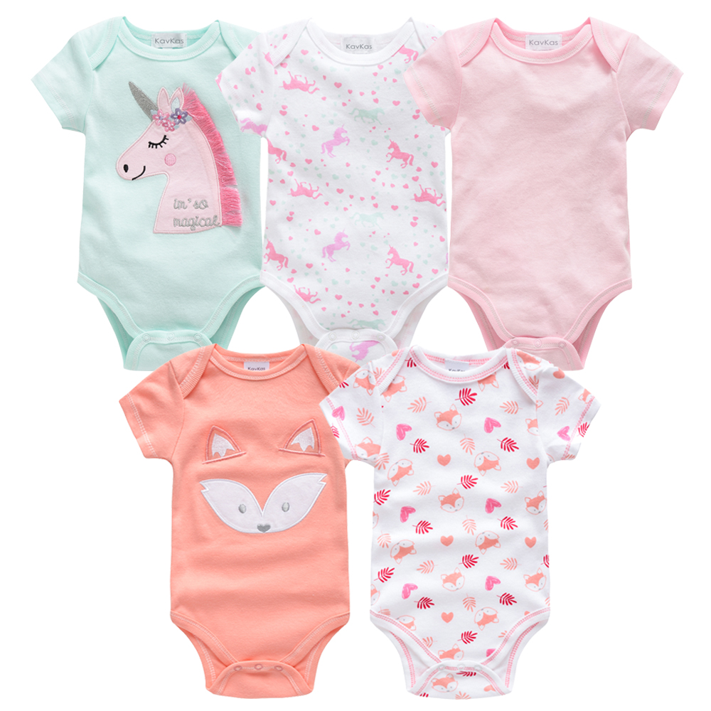 2019 Newborn Bodysuit Cotton Baby Girl Boy Clothes Short Sleeve Outfit Cartoon Body Bebe Menina 5Pcs/set Body Baby Ropa De Bebe