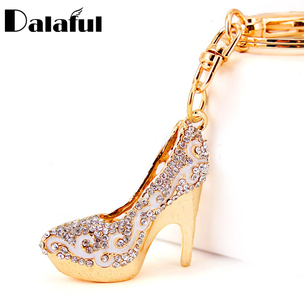 Dalaful Crystal High Heels Shoes Key Chains Rings Holder Flower Enamel Bag Pendant For Car Keyrings KeyChains K289