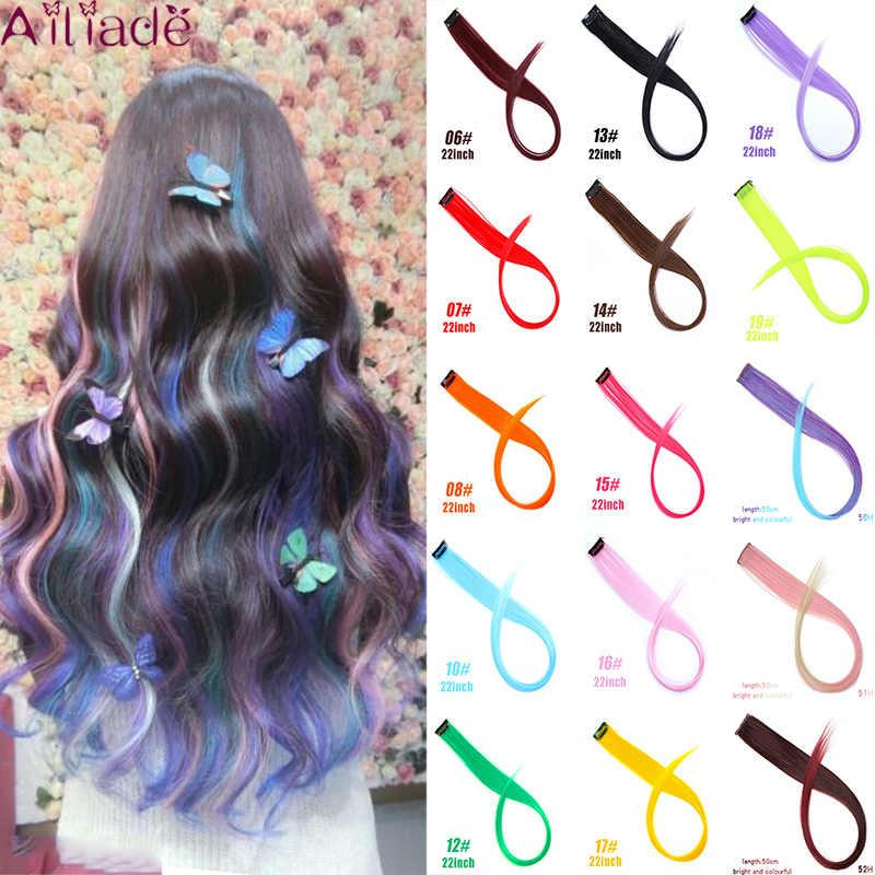 Ailiade Vrouwen Enkele Clip 50 Cm Longombre Gekleurde Lange Rechte Haar Strengen Clip Hair Extensions Synthetische Haarstukjes