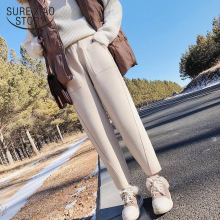 Мода, зимние женские шаровары с высокой талией, шерстяные женские штаны размера плюс, повседневные одноцветные теплые женские длинные штаны 1787 50
