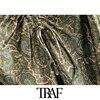 TRAF Women Chic Fashion With Bow Paisley Print Cozy Mini Dress Vintage V Neck Adjustable Straps Female Dresses Mujer 4