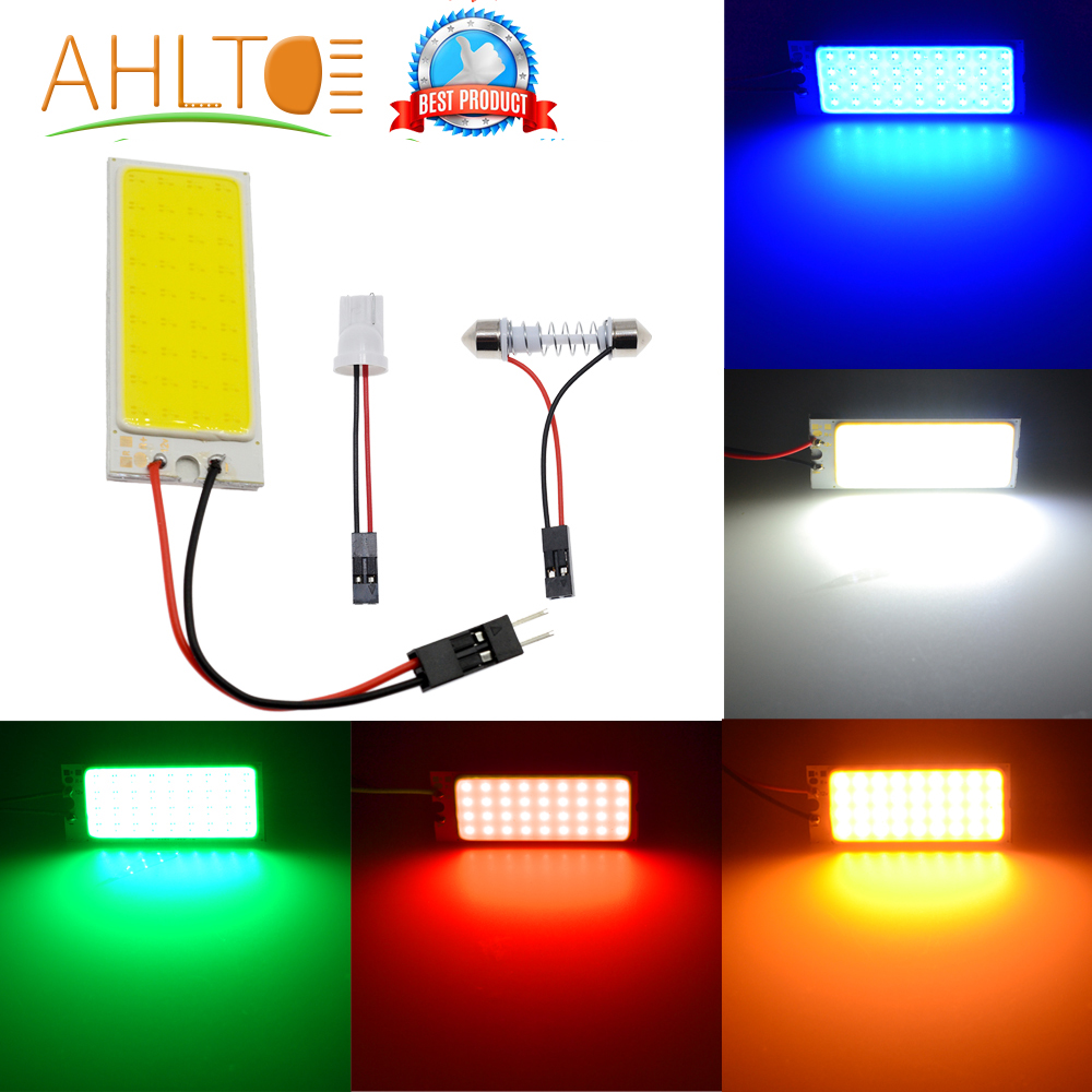 Promotion T10 36 SMD COB White/Red/Yellow/Blue LED Panel Super Car Auto Interior Reading Map Lamp Bulb Light Dome Festoon DC 12V