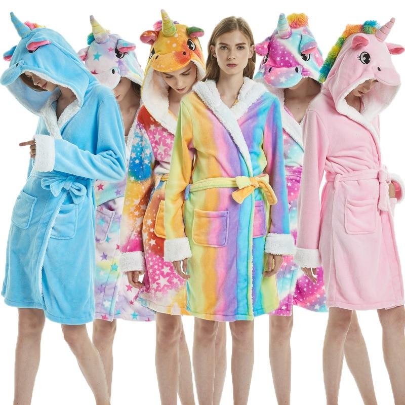 Kigurumi Unicorn Adults Animal Flannel Bath Robe Sleepwear Women Men Bathrobe Nightgown Robe Winter Unisex Panda Plush Pajamas