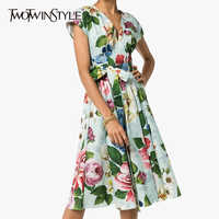 TWOTWINSTYLE Casual Print Dresses Female V Neck Short Sleeve High Waist Lace Up Bow Hit Color Summer Dress Women Fashion Clothes