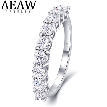 0.9ctw 3.0mm 0.1ctDE Color Round Excellent Cut Moissanite Engagement Band Real 18k White Gold For Women Best Gift