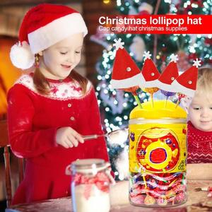 3x5cm 6pcs Velvet Cloth Christmas Candy Hat Lolly Cap Xmas Dinning Table Decoration for New Year Creative Christmas Lolly Hats