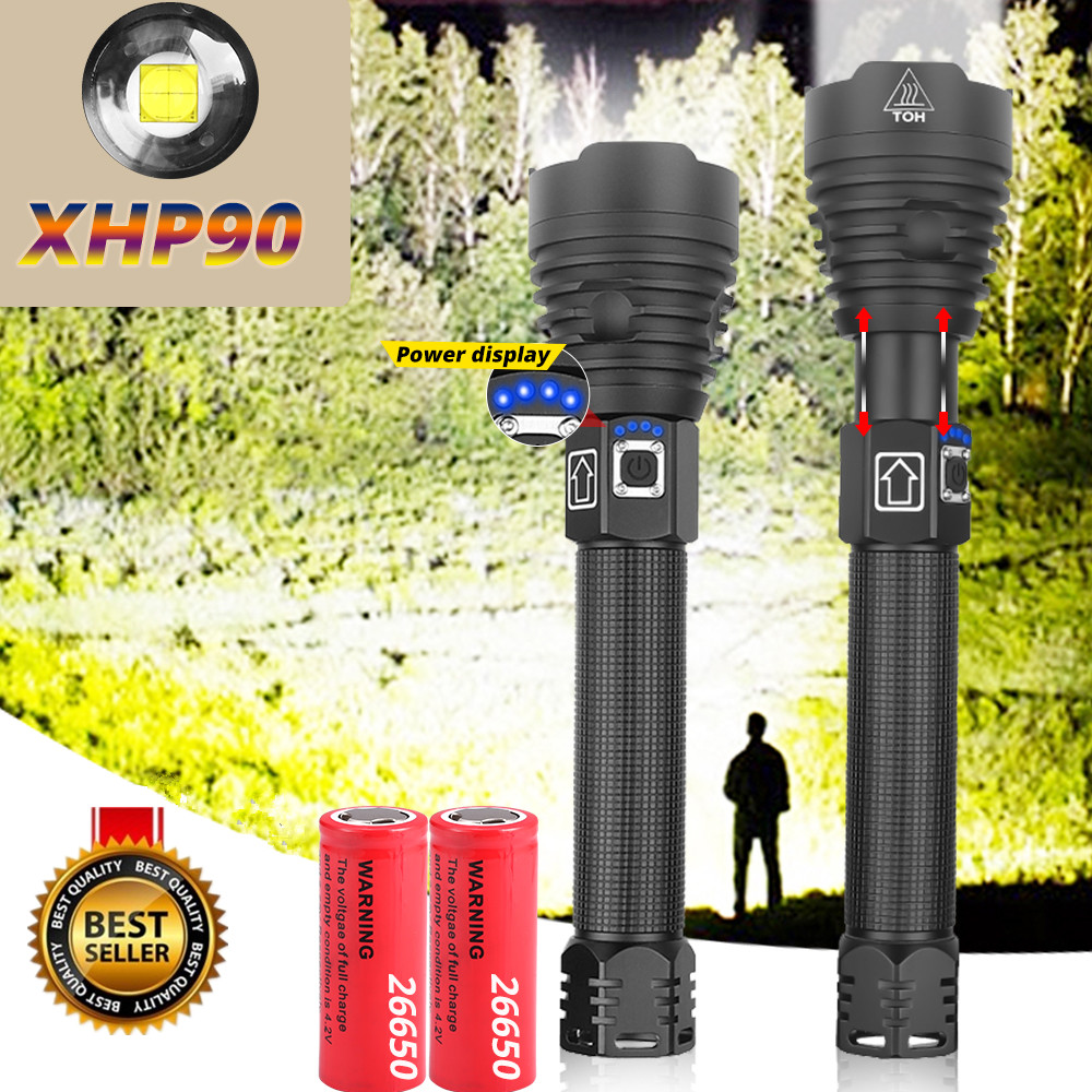 2020 XHP90 Powerful LED Flashlights XHP70 Zoom Tactical Torch Waterproof LED Flash Light 18650 26650 USB Rechargeable Linterna