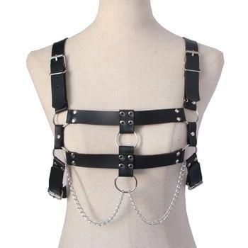 Sexy Leather Garters Belt Women Chest Black Adjustable Harness Bondage Body Bdsm Fetish Cosplay Harajuku Gothic Sword