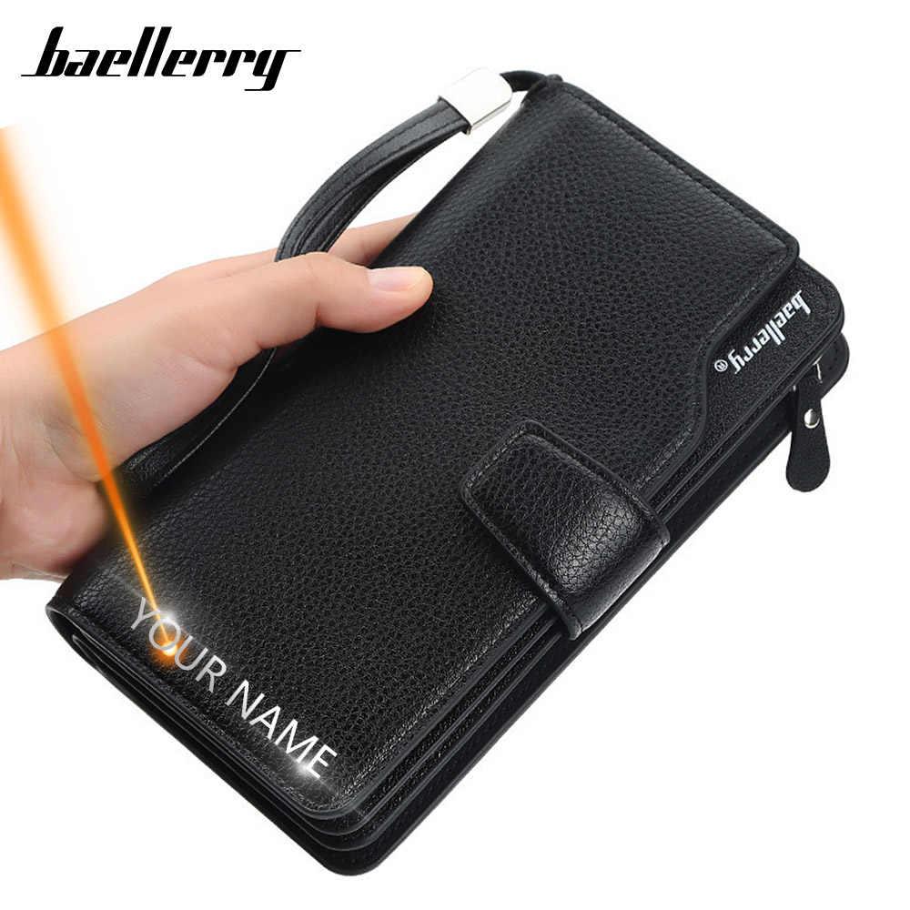 Portafogli da uomo lunghi nome incisione 21 porta carte portafoglio da uomo cerniera di qualità portafoglio in pelle PU di grande capacità per uomo carascia