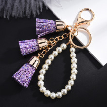 2019 New Candy Color Gold Sequins Tassel Keychain Bright Powder Pearl Chain Pendant Gifts for Women Accessories key Ring