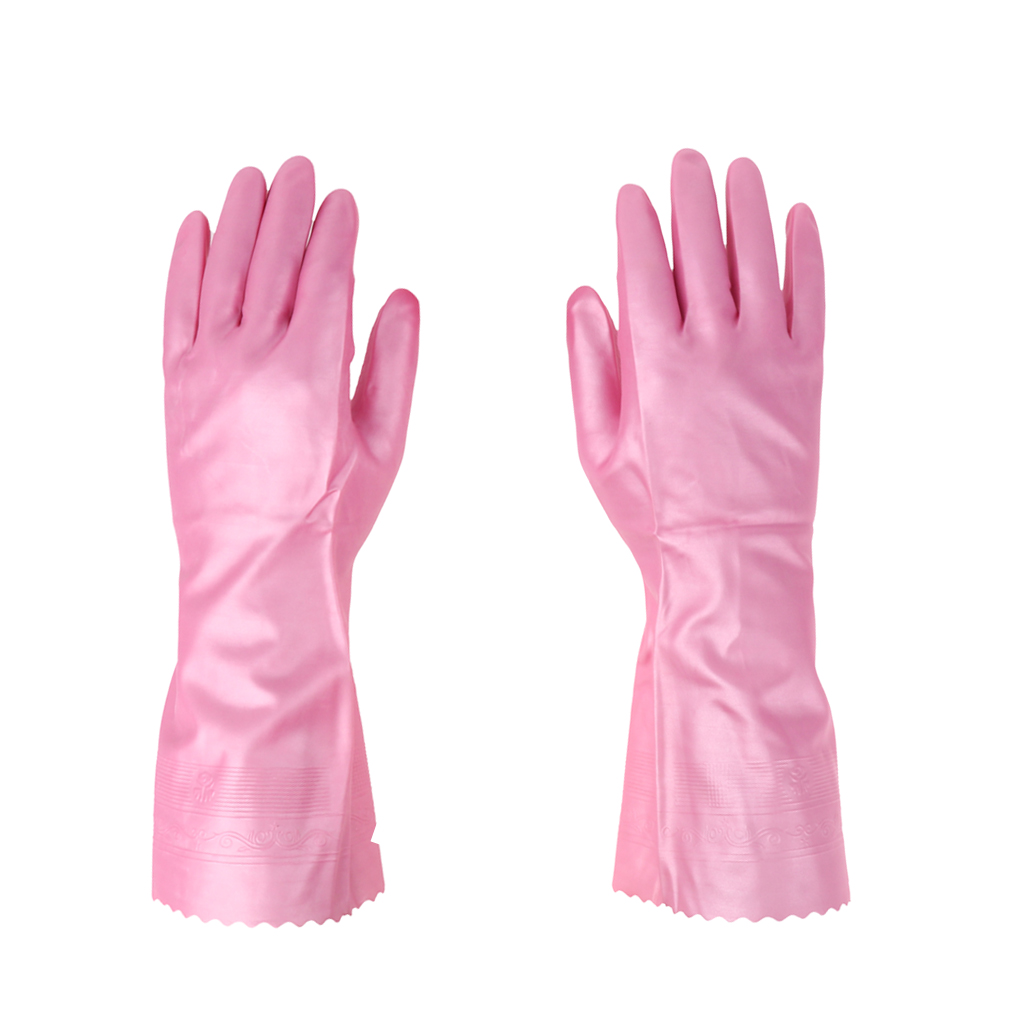 Latex&Nitrile Gloves Pink 300mm Hand Safety Protection Kitchen Cleaning