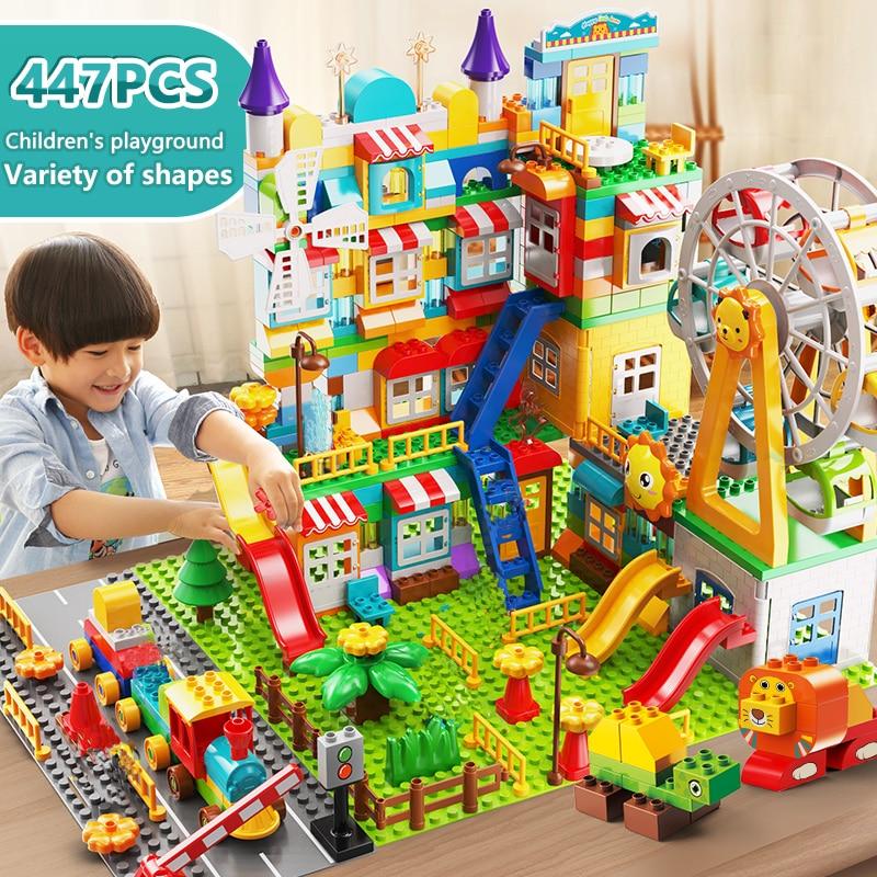 171-269PCS Marble Race Run Big Size Block Building Blocks Funnel Slide Blocks DIY Educational Big Brick Toys For Children Gift