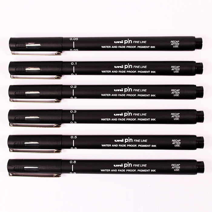 6Pcs Uni Pin Pen Drawing Fiber Needle Thin Eyeliner Pen 005 01 02 03 05 08 For Designers Architects Artists Sketch