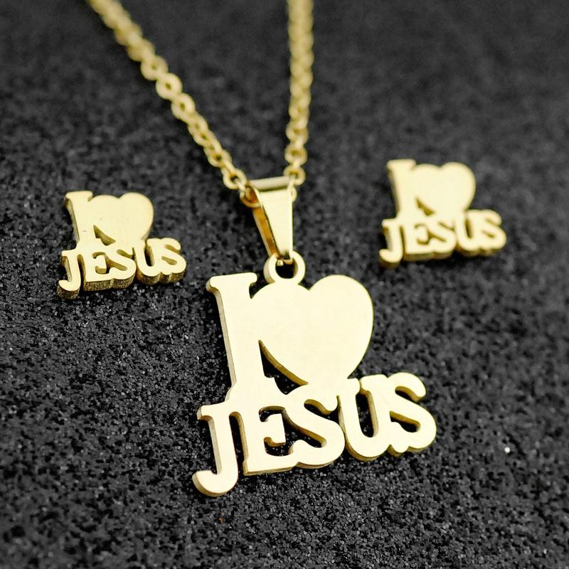 2020 Jesus Cross Fashion Men Charm Metal Pendant Necklace Jewelry Set Stainless Steel Chain Christian Symbol Jewelry Making