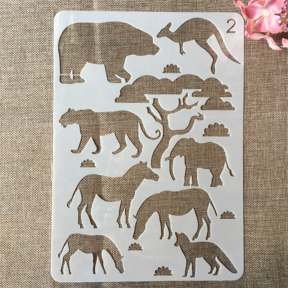 29cm A4 Elephant Animals Zebra Kangaroo DIY Craft Layering Stencils Painting Scrapbooking Stamping Embossing Album Card Template