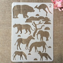 29cm A4 Elephant Animals Zebra Kangaroo DIY Craft Layering Stencils Painting Scrapbooking Stamping Embossing Album Card Template azsg 2018 new arrival tree heart shaped embossing plates design diy paper cutting dies scrapbooking plastic embossing folder