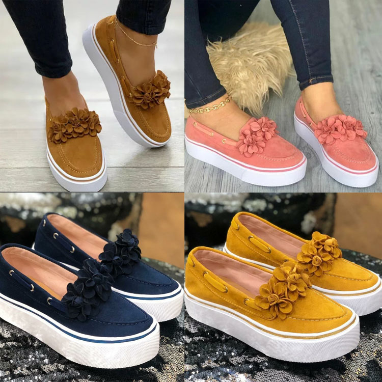 Image 5 - 2019 Spring Women Flats Shoes Platform Sneakers Slip On Flats Leather Suede Ladies Loafers Casual Floral Shoes Women-in Women's Flats from Shoes