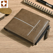 mens wallet leather genuine designer short purse billetera hombre vintage small Luxury brand masculina cartera