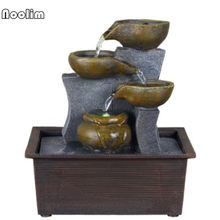 Indoor Lucky Desktop Water Fountain Decoration Small Ornaments Humidifier Feng Shui Wind Water Wheel Home(China)