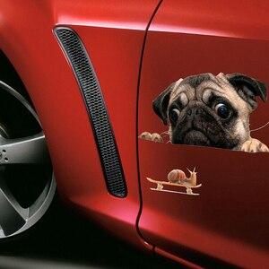 Image 5 - 面白い 3Dパグ犬時計カタツムリ車の窓デカールかわいいペット子犬ラップトップのステッカーpvcステッカー車の装飾アクセサリー