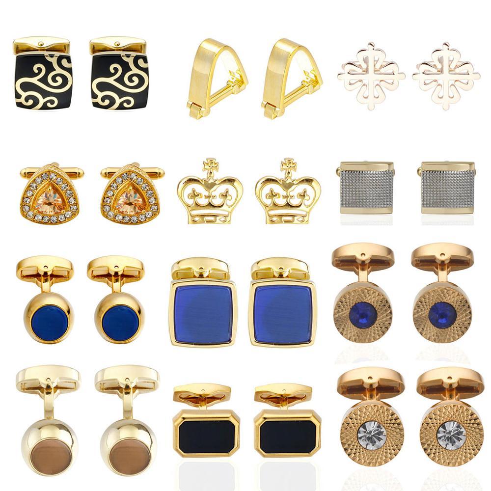 Quality Crystal Square/Round Cufflinks For Mens Gold  Black Flower/Crown/ Cufflinks Top Brand Men's French Shirt Cufflinks