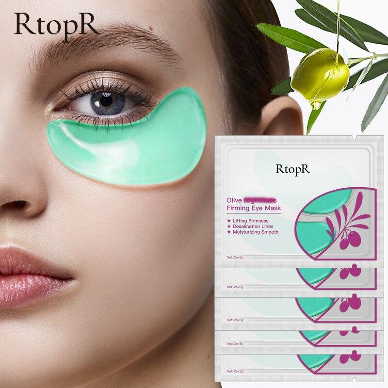 10 pièces = 5 paquets de masque pour les yeux collagène Olive soins de la peau visage raffermissant sans âge Anti-âge sac pour les yeux cernes poches soins des yeux
