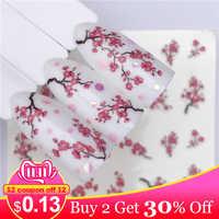 LCJ 1 Sheets Nail Water Decals Plum Blossom Flower Pattern Tranfer Sticker Flamingo Fruit Nail Art Decoration