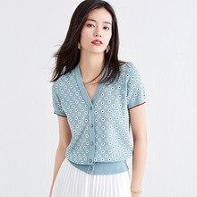 Women's fashion v-neck cardigan summer sweater short-sleeved knitted cardigan fe