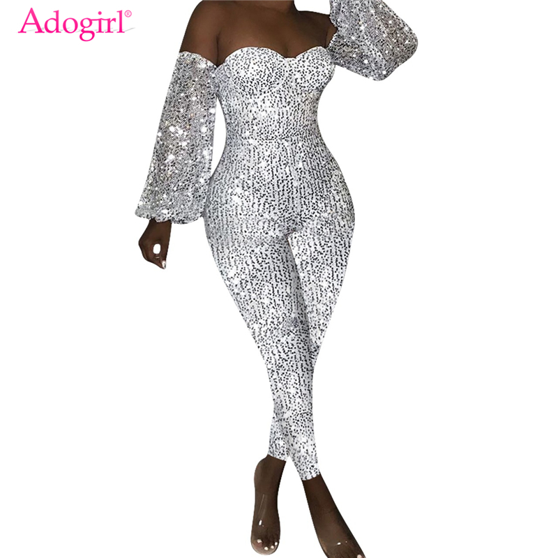 Adogirl Women Sexy Off Shoulder Sequins   Jumpsuits   Strapless Long Lantern Sleeve Skinny Romper Night Club Party Overalls Outfits