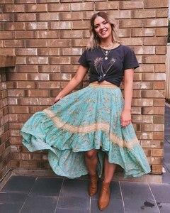 Image 5 - Vintage Chic fashion women  beach Bohemian floral print irregular hem rayon skirt High Waist Maxi  A Line Boho Skirt Femme