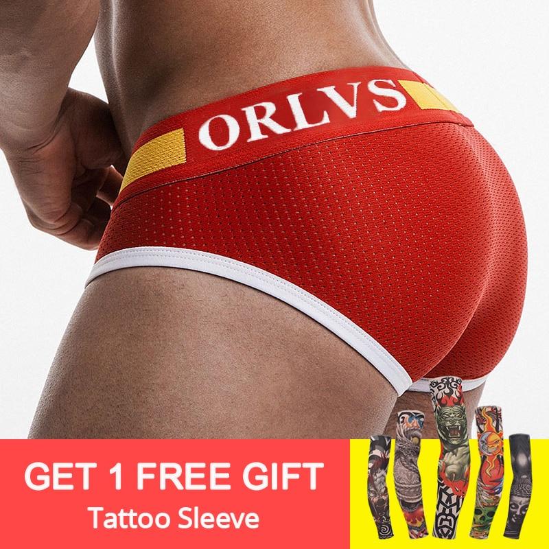 ORLVS 2019 New designed Brand Men Underwear Briefs Slip Mesh Shorts Cueca Gay men Underwear sexy Male panties Breathable Cotton