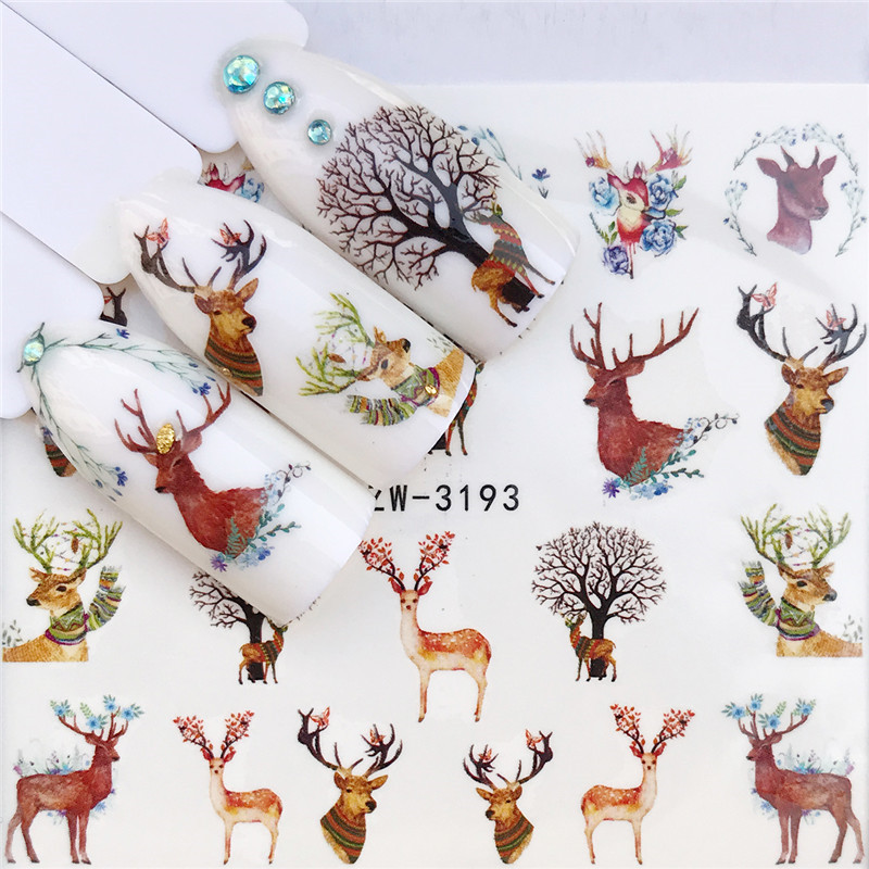 2020 NEW Christmas Nail Stickers Water Decals Snowman Santa Clause Deer Nail Art New Year Slider Manicure Full Wraps Tool