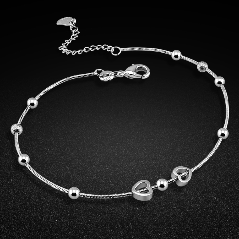 New Women's Silver Ankle Bracelet 925 Sterling Silver Anklet Minimalist Round Bead Silver Chain Summer Fashion Girl Jewelry