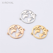 X-ROYAL 10Pcs/lot 27*22mm Stainless Steel Hollow World Map Charms Bracelet Connectors Earth DIY Necklace Pendant Connector