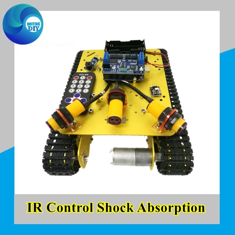 <font><b>TS100</b></font> IR Control Shock Absorption Crawler Tracked Robot <font><b>Tank</b></font> Chassis with Obstacle Avoidance for Robot Education by Phone image
